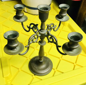 Antique Brass Candle Stick Holder 4 Arms Made In England Old Table Light Heavy