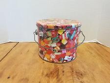 Vintage Metal Pail Bucket Christmas Candy paint Metal lid & bail handle