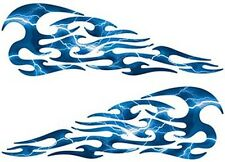 """Tribal Flame Decals Lightning Blue Motorcycle Tank 10"""" REFLECTIVE FL01"""
