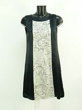 Rare robe en soie T 38/noir avec motif & 100% soie + Nouveau (n 1097 R)