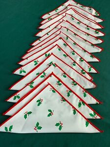 """Set of 13 Cocktail Napkins Cloth Table Linens Holiday Holly Christmas 8"""" Square"""