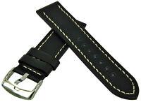 Reloj Pulsera de Cuero Pesado Flat Negro Con Cosido Banda 18-24mm Correa
