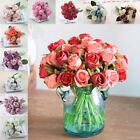 12Head Silk Rose Flowers Floral Bridal Wedding Bouquet Home Party Decor