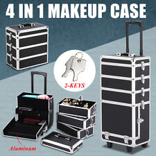 4 in1 Aluminum Makeup Case Trolley Salon Beauty Cosmetic Train Box Organization
