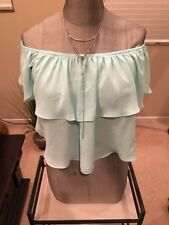 Super Cute Aqua Brand Mint Green Off Shoulder Crop Blouse Size M NWT