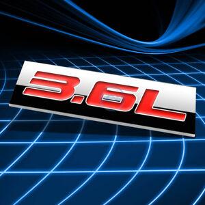 METAL 3D EMBLEM DECAL LOGO TRIM BADGE STICKER POLISHED CHROME RED 3.6L 3.6 L