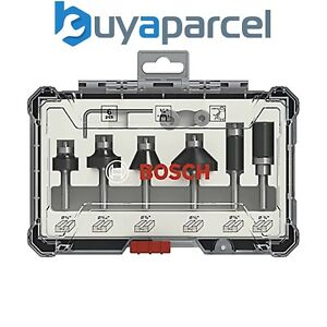 "Bosch 2607017470 6 Piece Trim & Edge Router Cutter Set Straight 1/4"" Shank +Case"