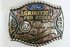 2017 Ford Agribition Pro Rodeo Champion Belt Buckle Team Roping Silver Overlay