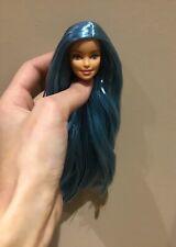 Rerooted reroot peacock blue long hair Barbie doll head