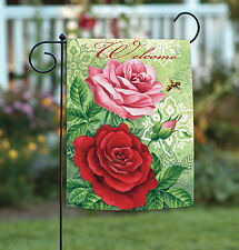 Toland Rose Welcome 12.5 x 18 Colorful Red Pink Flower Bee Garden Flag