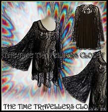 RIVER ISLAND CHELSEA GIRL BLACK LACE VINTAGE 60s KIMONO SLEEVE DRESS 8 10 12 +