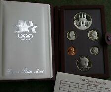1984 US Mint Prestige Proof 6 Coin + Los Angeles Olympic Silver Dollar Box + COA