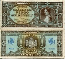 Banknote 1945 Republic Hungary F to Vf 100000 100 Thousand Pengo Hyperinflation