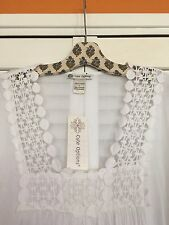 Large New Beach Dress Tunic White Cotton Cover-up Lace Ruffle Blouse Top Shirt