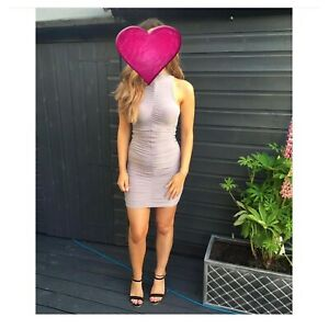 Prettylittething Ruched Grey Turtleneck Dress Size 4
