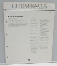 Kodak Chemicals HC-110 Developer Pamphlet Booklet 1984 G-13 - USED B130