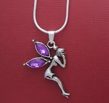 Purple Fairy Necklace Tinkerbell Silver Plated Pendant chain New angel cute gift