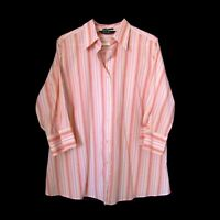 EDDIE BAUER Blouse 2X Wrinkle Resistant Stretch Cotton 3/4 Sleeve Career Shirt