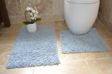 100% Cotton 2 Piece Tumble Twist Bath & Pedestal Mat Toilet Set Machine Washable
