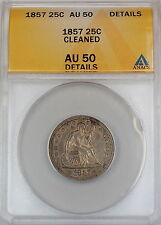 1857 Seated Liberty Silver Quarter, ANACS AU-50, Details - Cleaned