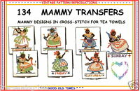 Mammy embroidery Transfer Pattern IRON ON days of the week 134 VINTAGE