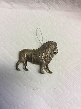 ANTIQUE GERMAN SILVER WALKING LION WITH HARNESS CHRISTMAS ORNAMENT-RARE