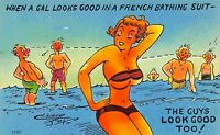 ARTIST DRAWN SEXY WOMEN AT THE BEACH~LOT OF 3 1940-50s RISQUE COMIC POSTCARDS