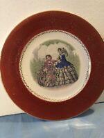 "Vintage Imperial China Co. Burgundy 23 Karat Gold 11"" Plates Victorian"