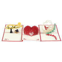 Fashion 3D Pop Up Greeting Card Handmade Birthday Merry Christmas Card Gift