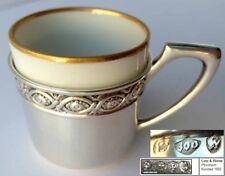 café mocca- Tasse, porcelaine, 800 argent, LUTZ & blanc, um 1900 G865