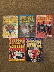 Merlin Premier League Sticker Albums - 96, 97, 98, 99 and 2000 - all complete!