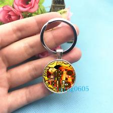 Gustav Klimt Slice Art Photo Tibet Silver Key Ring Glass Cabochon Keychains -283