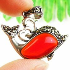 F37105 Wrapped Red Crystal Tibetan Silver Zircon Dolphin Pendant 28x24x6mm