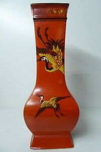 ANTIQUE SHELLEY ART DECO CRANE HERRON HAND PAINTED ORANGE VASE