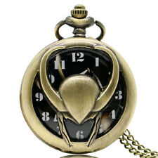 Thor Loki Necklace Vintage Bronze Hollow Quartz Pocket Watch Fashion Xmas Gift