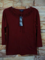 NEW w tags Women's CHAPS Top Size S Burgundy 3/4 sleeves