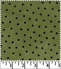 Shadow Play  Woolies  Flannel - Green Black Dot  #F18506-G