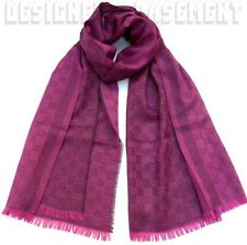 "GUCCI wool/silk 28x77"" Magenta & Plum 2-tone Monogram Scarf Pashmina NWT Authent"