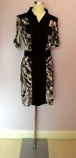 MARCCAIN SPORTS BLACK,WHITE & BROWN PRINT BUTTON FRONT DRESS SIZE N3 UK 10/12