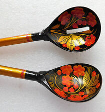 "2 Russian khokhloma spoons long handled strainer set servers 16"" lacquer ware"