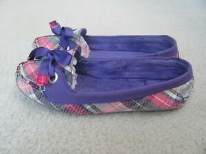 Sperry Top-Sider Women's Purple and Plaid Colored Slippers Size 9-New