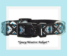 Top Paw Reflective Blue Silver Black  BoHo Aztec Dog Collar L