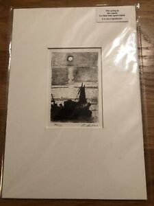 """IAN LAURIE  Limited Edition ETCHING """"Newlyn Moon"""" 26/50"""