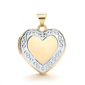 9ct Gold Two Colour Love Heart Locket with edge Design