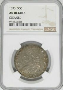 1833 50C Capped Bust NGC AU Details Cleaned