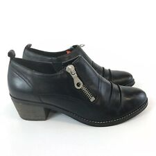 Clarks Softwear Black Leather Ankle Zip Up Heeled Slouch Hippies Boots 41 UK7 D
