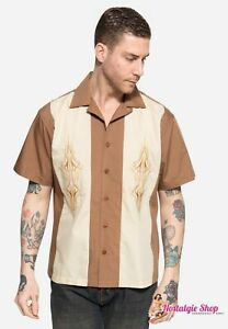 King Kerosin 2-Tone Bowlingshirt US Pinstripes Elvis Style Hemd 50er Rockabilly