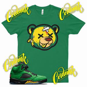 Green DEAD BEAR T Shirt for Jordan 5 Oregon Ducks Apple Green Elevate Yellow