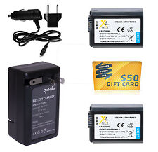 2 Pack NP-FW50 Battery + Charger for SONY Alpha SLT A33 A37 A55 RX10 DSCRX10