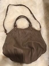 TORY BURCH TAUPE PEBBLED LEATHER HAND CROSSBODY BAG SATCHEL PURSE  X Large